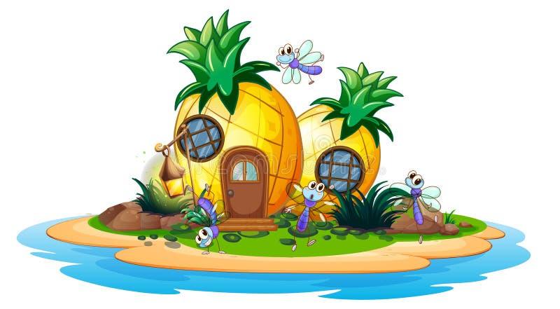 Ananashaus auf Insel lizenzfreie abbildung