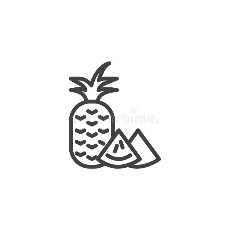 Ananashelhet och en skivalinje symbol royaltyfri illustrationer