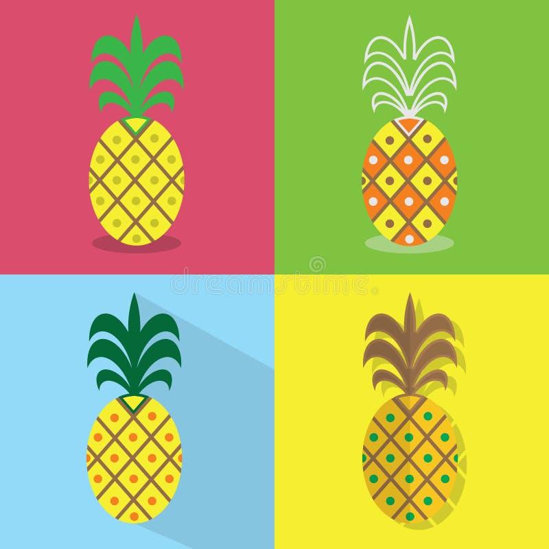 Ananasikonen stellten - verschiedene Arten von bunten flachen Designen ein lizenzfreie abbildung