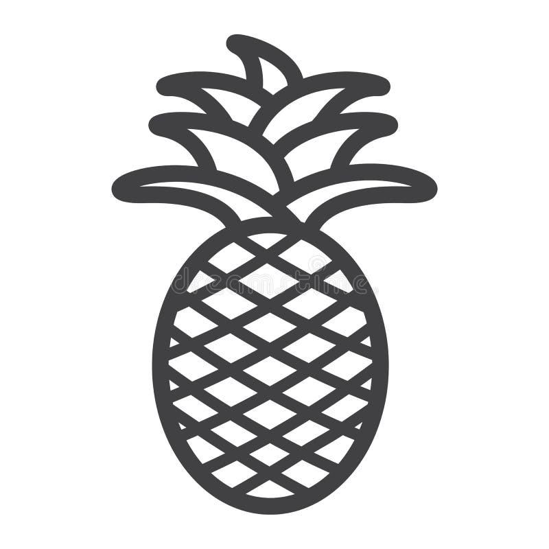 Ananaslinje symbol, frukt och tropiskt vektor illustrationer