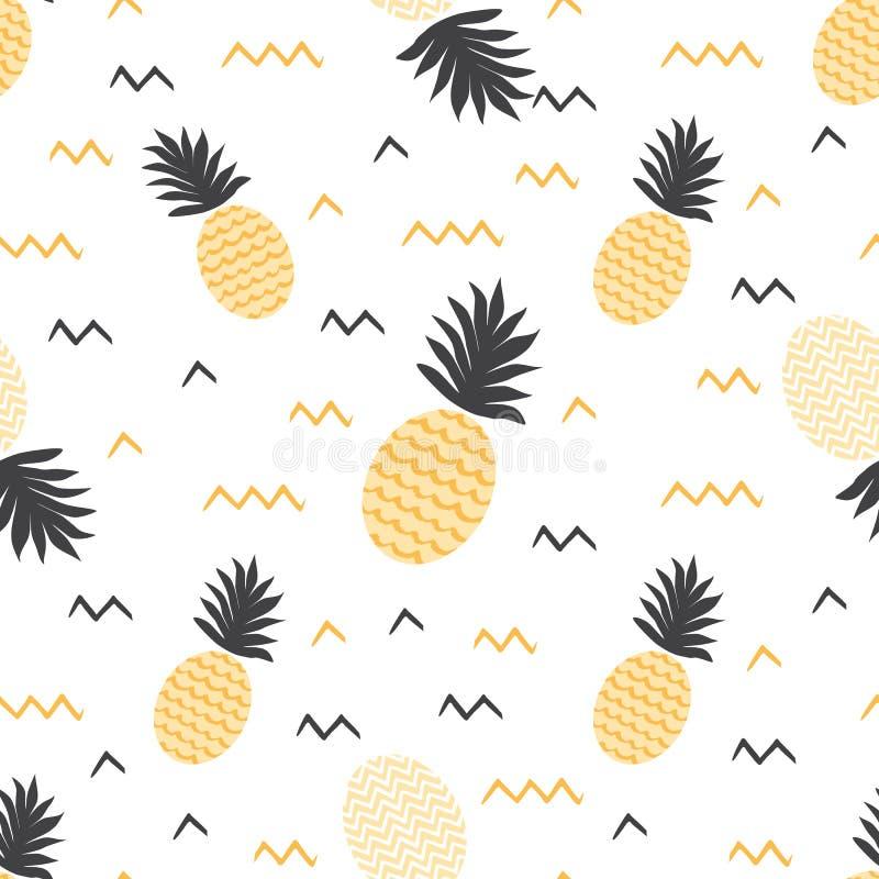 Ananasmuster Ananasdruck des gelben Sommerfrüchte backround Vektorsommers nahtloser stock abbildung