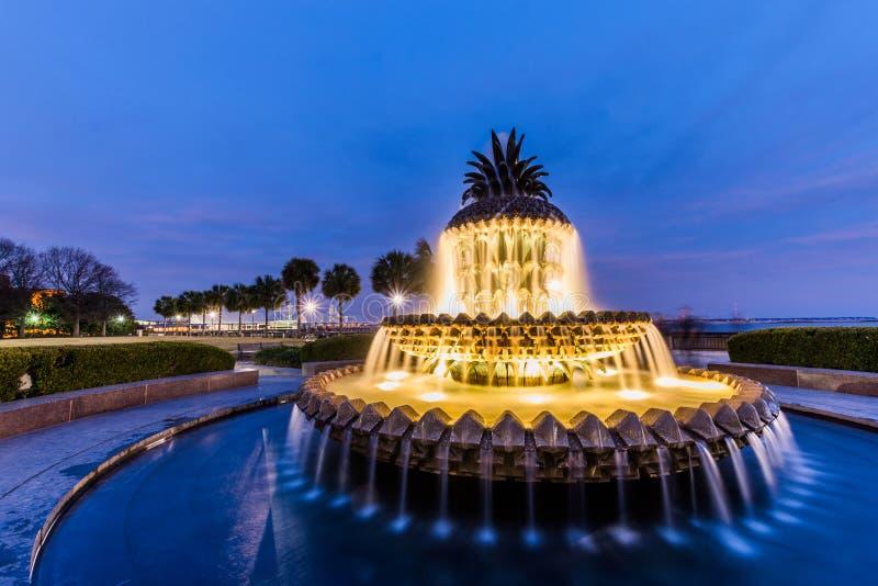 Ananasowa fontanna przy woda przodu parkiem w Charleston, południe Ca fotografia stock