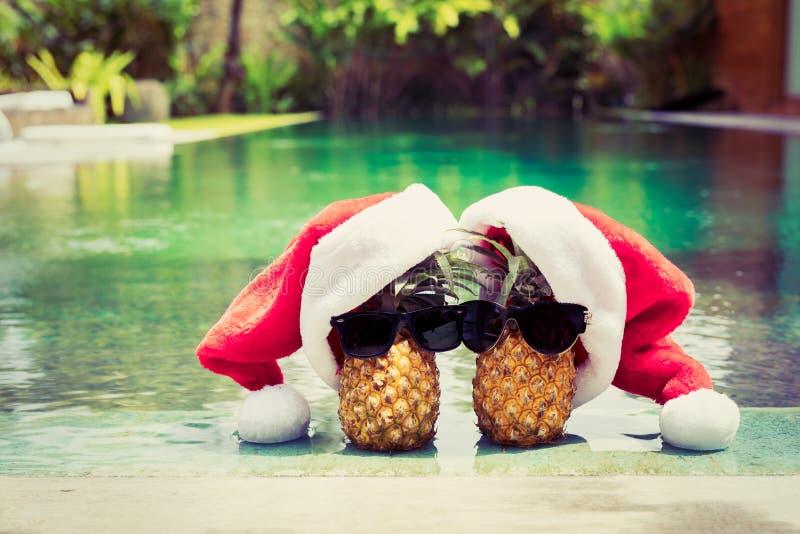 Ananasowa para w Santa kapeluszach wiesza basenem fotografia royalty free