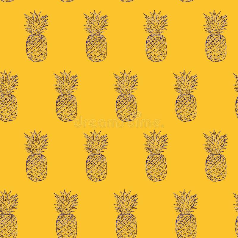 Ananasowa ręka rysujący nakreślenie, grunge konturu wektorowy bezszwowy wzór, nakreślenie rysunku ilustracyjny druk wystrzał sztu ilustracji