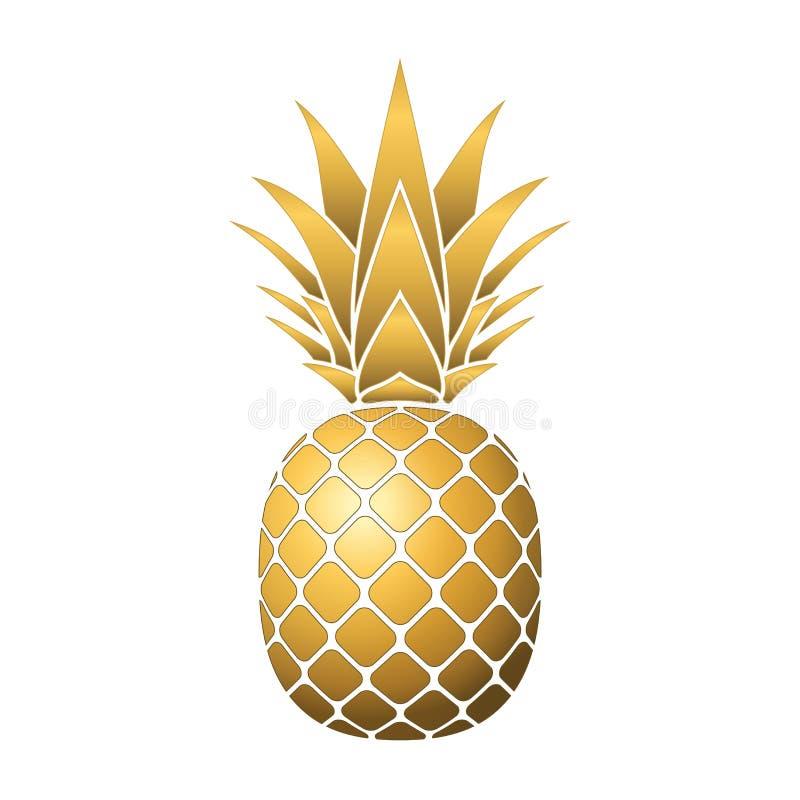 Ananasowa złocista ikona zdjęcie stock