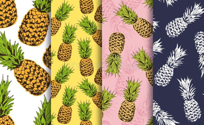 Ananasowi dekoracyjni bezszwowi wzory ustawiający royalty ilustracja