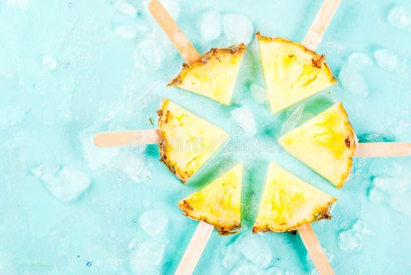 Ananasowi popsicle kije obraz stock
