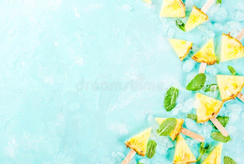 Ananasowi popsicle kije fotografia royalty free