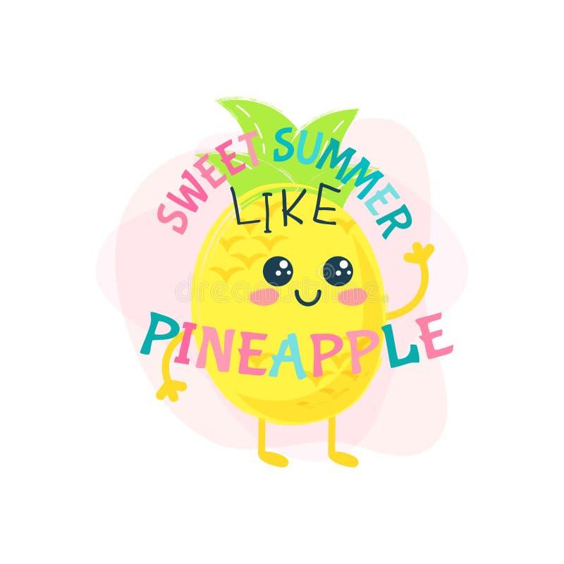 Ananasowy śliczny lato druk Lato karty literowanie royalty ilustracja
