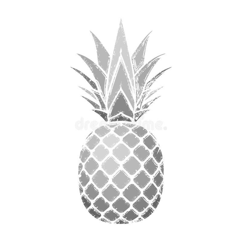 Ananasowy grunge z liściem Tropikalnej egzotycznej owoc odosobniony biały tło Symbol żywność organiczna, lato, witamina ilustracji