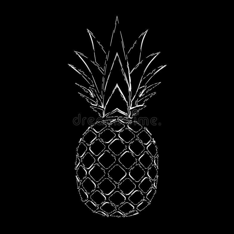 Ananasowy grunge z liściem Tropikalnej egzotycznej owoc odosobniony czarny tło Symbol żywność organiczna, lato, witamina royalty ilustracja
