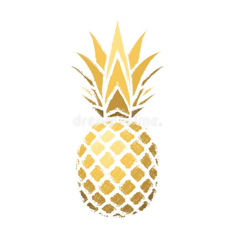 Ananasowy grunge z liściem Tropikalnej złocistej egzotycznej owoc odosobniony biały tło Symbol żywność organiczna, lato ilustracji