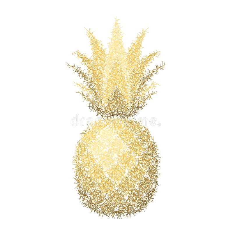 Ananasowy grunge z liściem Tropikalnej złocistej egzotycznej owoc odosobniony biały tło Symbol żywność organiczna, lato royalty ilustracja