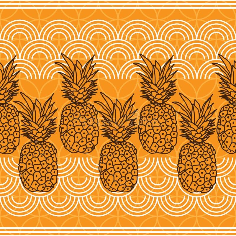 Ananasowy owoc zachwyt Bezszwowa powtórka wzoru ilustracja Tło w Żółtym i Białym ilustracji