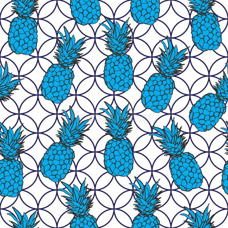 Ananasowy owoc zachwyt Bezszwowa powtórka wzoru ilustracja Tło w błękitnym i białym royalty ilustracja
