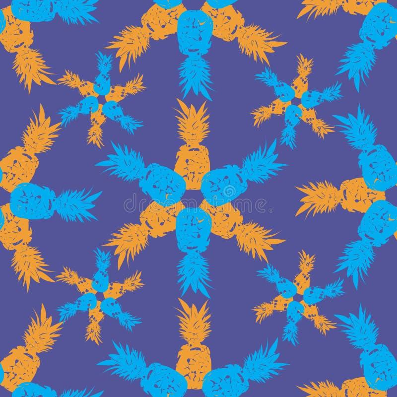 Ananasowy owoc zachwyt Bezszwowa powtórka wzoru ilustracja Tło w Błękitnym, kolorze żółtym i purpurach, ilustracja wektor