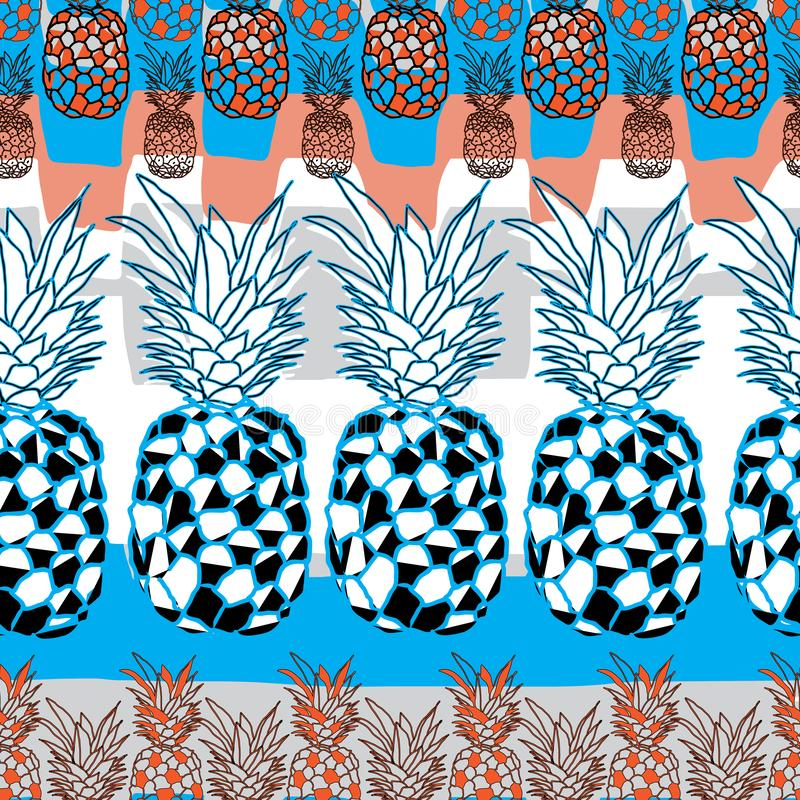 Ananasowy owoc zachwyt Bezszwowa powtórka wzoru ilustracja Tło w Błękitnym, pomarańcze Czarny I Biały ilustracja wektor