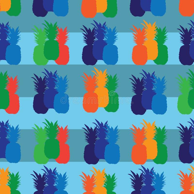 Ananasowy owoc zachwyt Bezszwowa powtórka wzoru ilustracja Tło w Błękitnym, Pomarańczowy, Zielony, rewolucjonistka royalty ilustracja