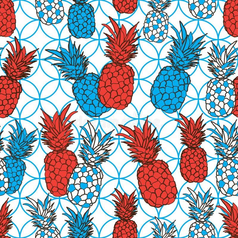Ananasowy owoc zachwyt Bezszwowa powtórka wzoru ilustracja Tło w Błękitnym, rewolucjonistce i bielu, royalty ilustracja