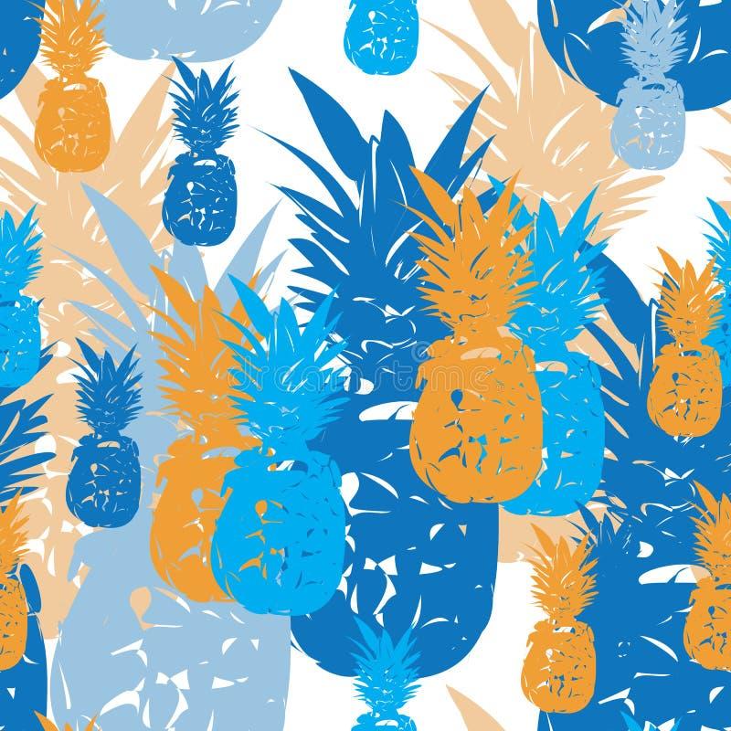 Ananasowy owoc zachwyt Bezszwowa powtórka wzoru ilustracja Tło w Błękitnym, rewolucjonistka, i Siwiejemy ilustracja wektor