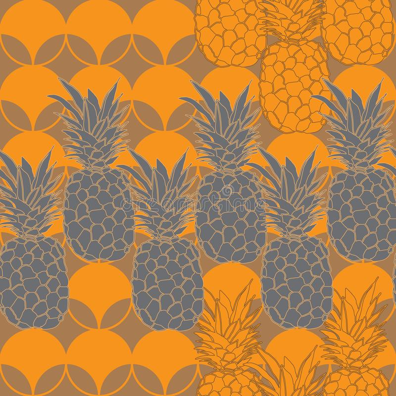 Ananasowy owoc zachwyt Bezszwowa powtórka wzoru ilustracja Tło w kolorze żółtym i Siwieje ilustracji