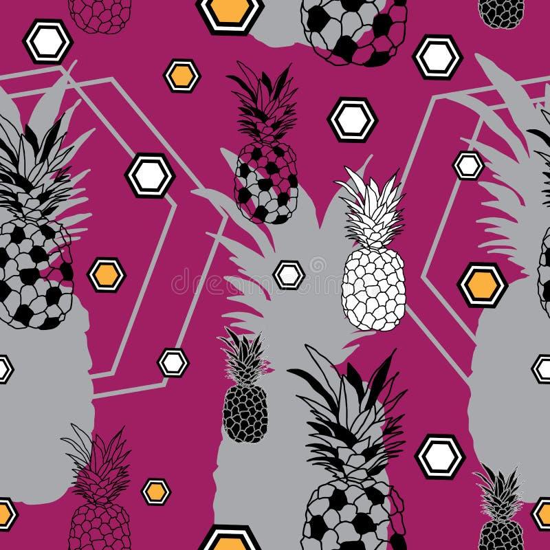 Ananasowy owoc zachwyt Bezszwowy powtórka wzoru tło w Purpurowy Żółty Czarny I Biały royalty ilustracja