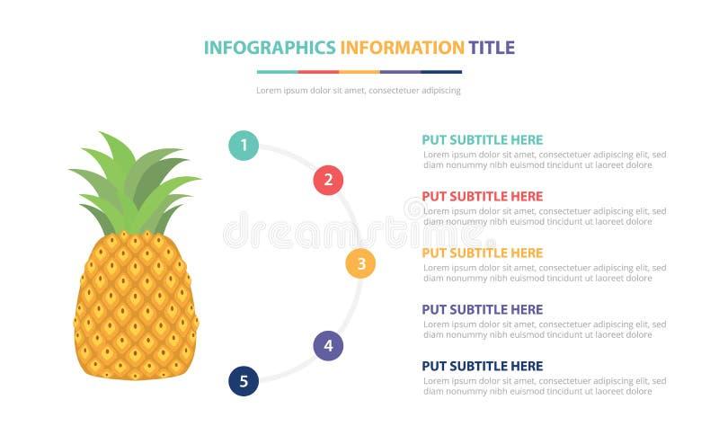 Ananasowy owocowy infographic szablonu pojęcie z pięć punktami spisuje i różnorodny kolor z czystym nowożytnym białym tłem - wekt ilustracji