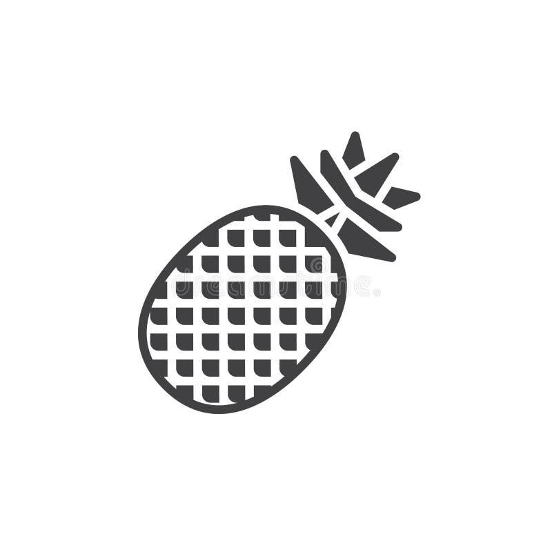 Ananasowy tropikalnej owoc ikony wektor, wypełniający mieszkanie znak, stały piktogram odizolowywający na bielu ilustracji