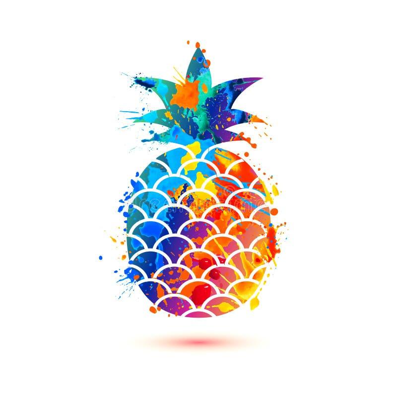 Ananaspictogram Het symbool van de plonsverf vector illustratie