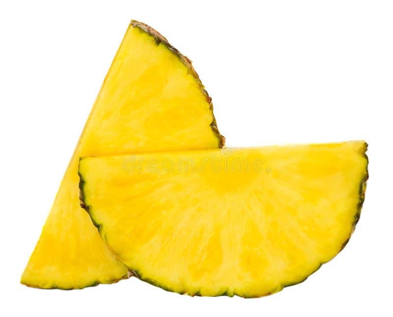 Ananasplak Brokken van Ananas op witte backgroun wordt geïsoleerd die royalty-vrije stock fotografie