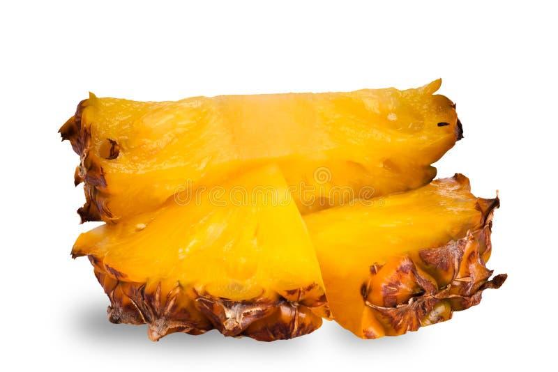 Ananasplakken op wit royalty-vrije stock afbeeldingen