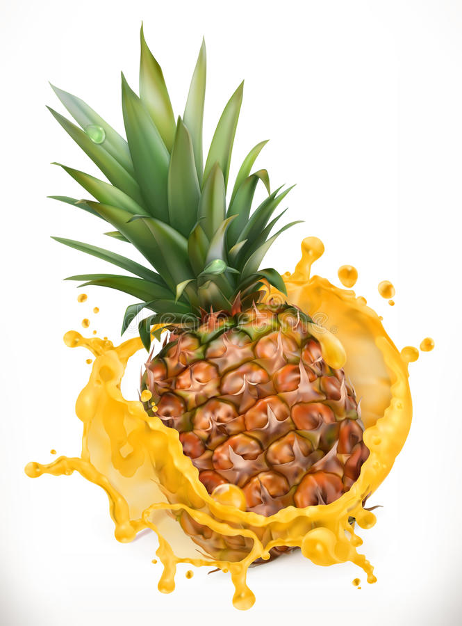 Ananassaft Frische Frucht, Vektorikone lizenzfreie abbildung
