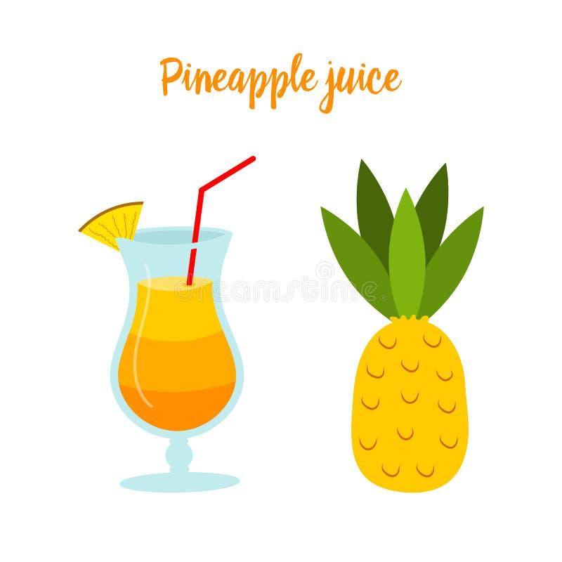 Ananassap of een cocktail in een glas Tropisch Fruit voor Dieet en Gezondheid Organische Vitamine voor Vegetariërs stock illustratie