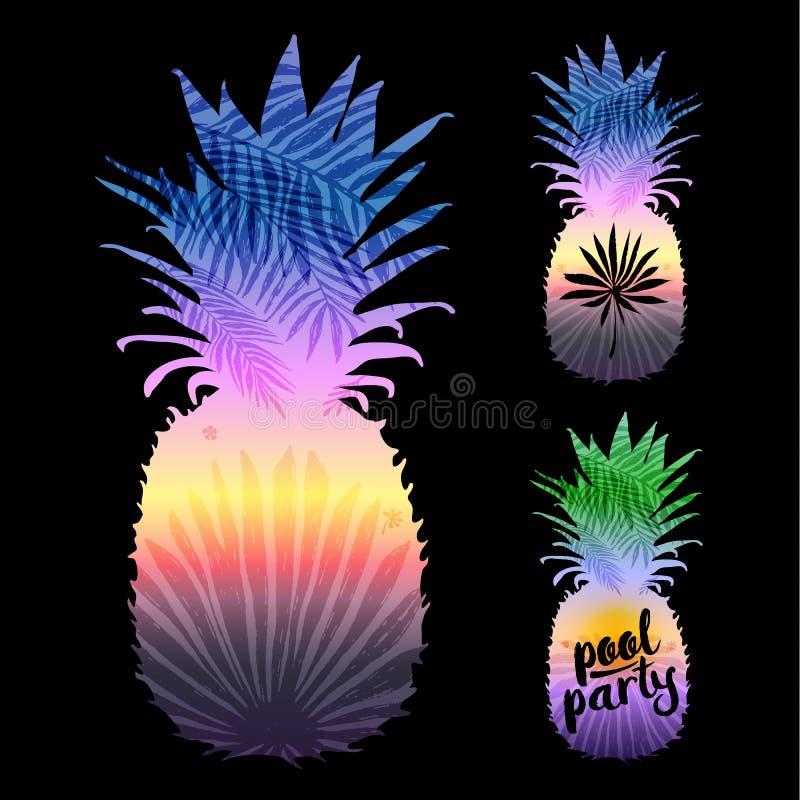 Ananasschattenbild mit tropischen Palmblättern auf einem schwarzen Hintergrund Vektorillustration, Gestaltungselement für lizenzfreie abbildung