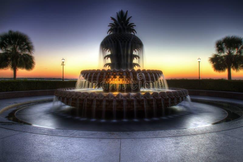 Ananasspringbrunn, strandPark, Charleston SC royaltyfri fotografi