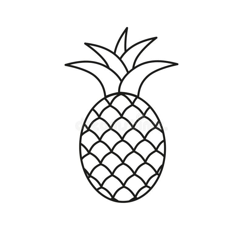 Ananassymbolikone Einfache Linie Vektorikone der tropischen exotischen Frucht lizenzfreie abbildung