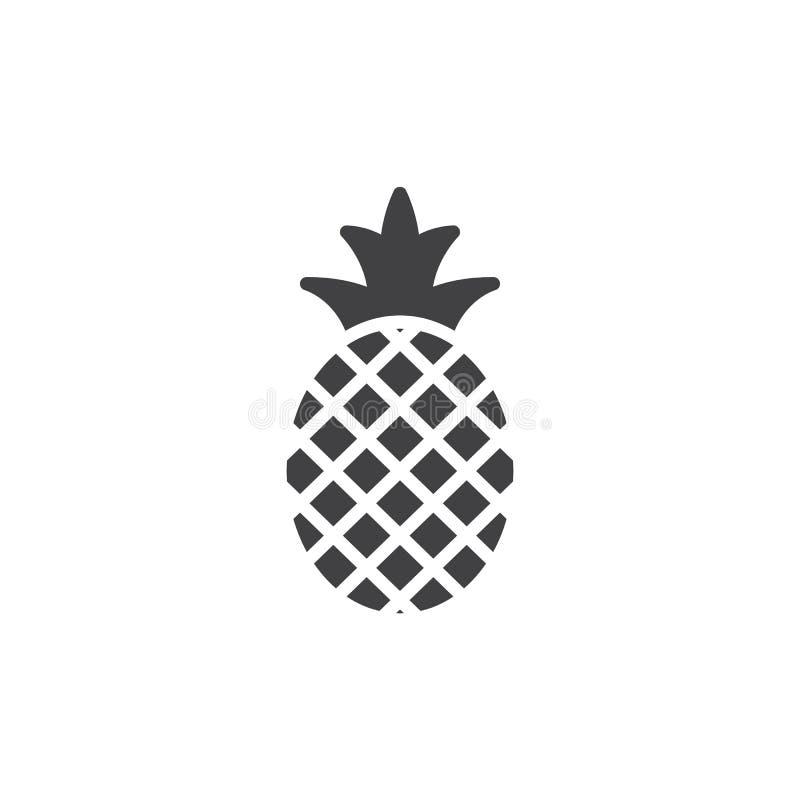 Ananassymbolsvektor, fyllt plant tecken royaltyfri illustrationer