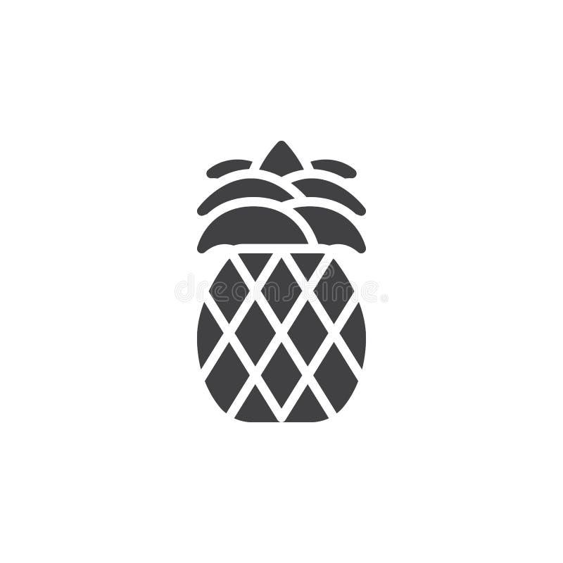 Ananassymbolsvektor, fyllt plant tecken, fast pictogram som isoleras på vit stock illustrationer