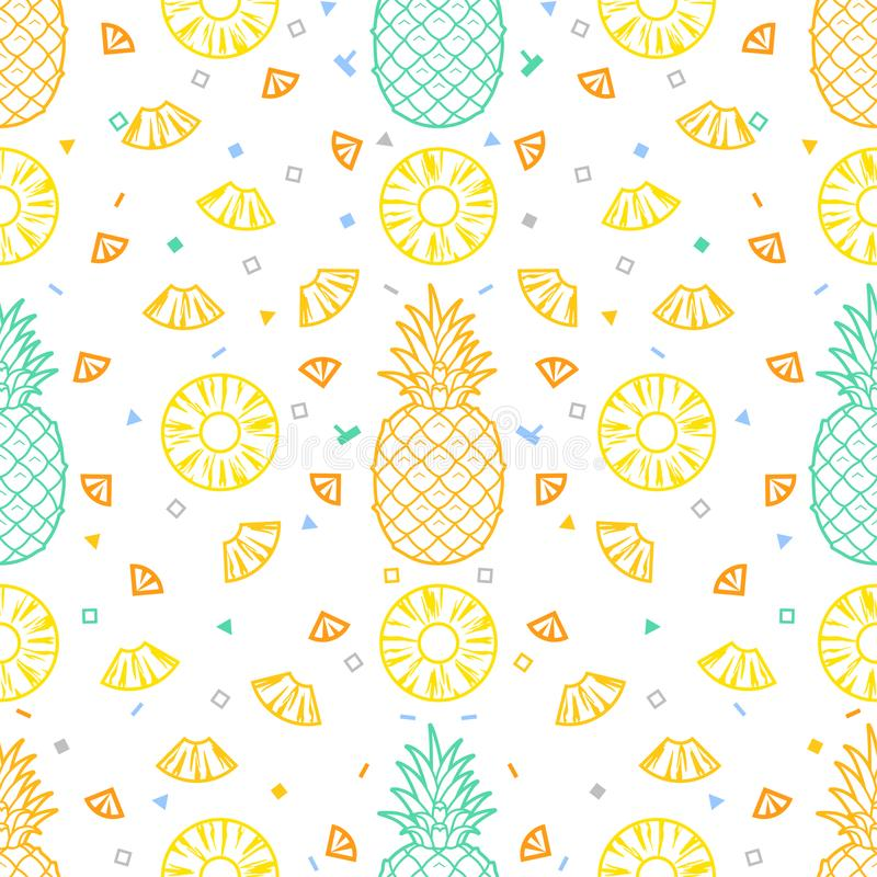 Ananasvruchten naadloos patroon vectorformaat als achtergrond royalty-vrije illustratie