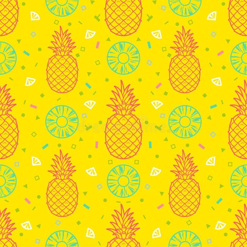 Ananasvruchten naadloos patroon vectorformaat als achtergrond vector illustratie