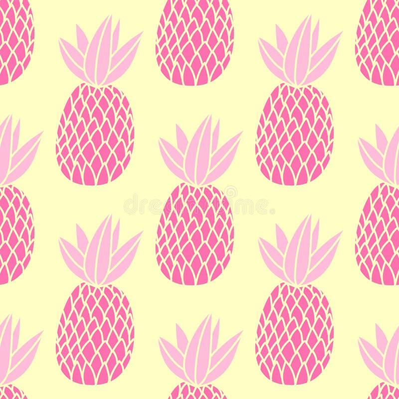 Ananasy na białym tle Wektorowy bezszwowy wzór z tropikalną owoc Śliczny dziewczyna styl, menchie i kolor żółty, royalty ilustracja