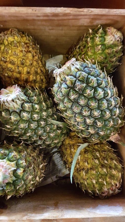 Ananasy w skrzynce obraz stock