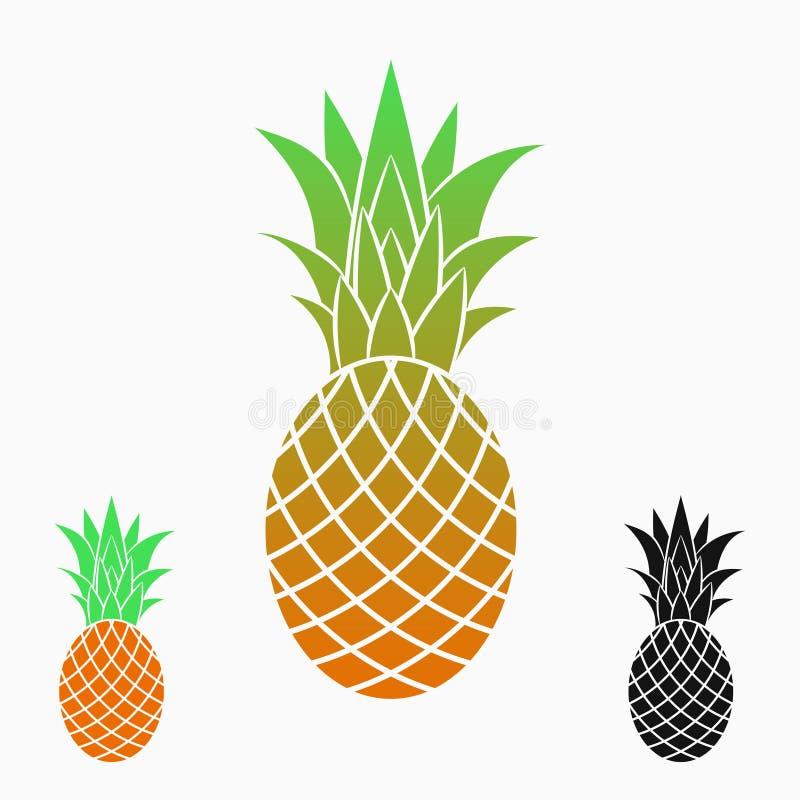 Ananors eller Ananas Exotisk frukt - symbol, logo vektor royaltyfri illustrationer