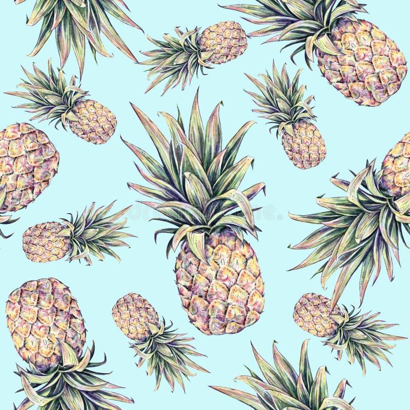 Ananors på ett ljus - blå bakgrund Färgglad illustration för vattenfärg tropisk frukt seamless modell vektor illustrationer