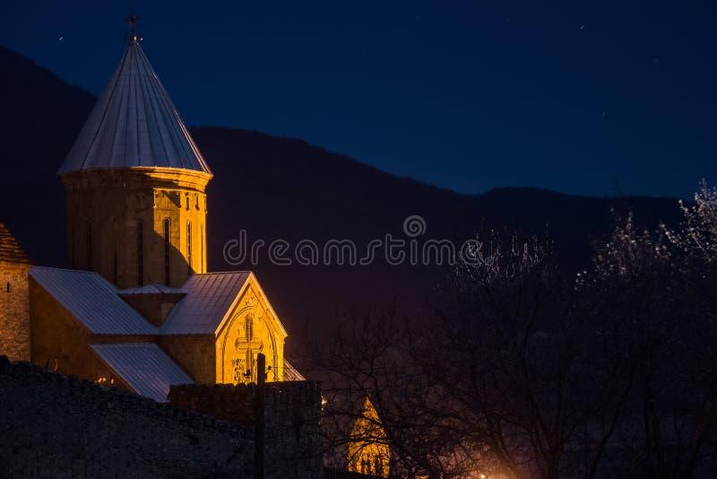 Ananuri教堂在晚上 免版税库存图片