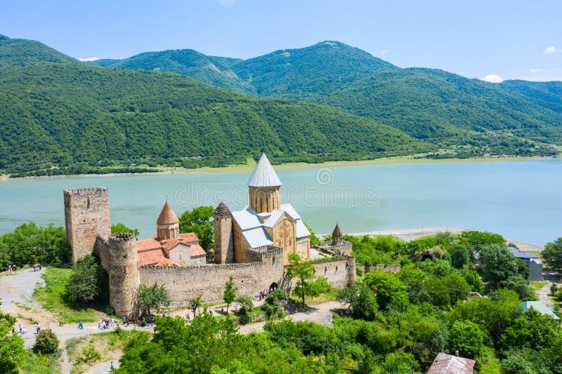 Ananuri是在阿拉格维河的城堡复合体在乔治亚 位于Ananuri城堡大约从第比利斯的70公里 库存图片