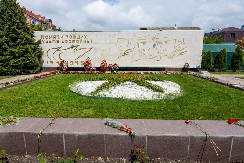 Anapa, Россия - 13-ое мая 2019: Массовое захоронение 45 советских солдат, Anapa, пересечения Ленин и советских улиц E стоковые изображения rf