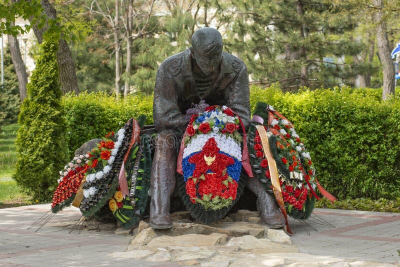 Anapa, Rusia - 9 de mayo de 2019: Monumento dedicado a las guerras de los afganos imagen de archivo