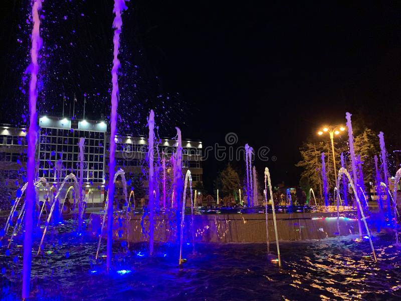 Anapa, Russia, July. 22, 2019. Night landscape with views of  city Administration of the resort of Anapa and  musical fountain wit. Anapa, Russia. Night stock images