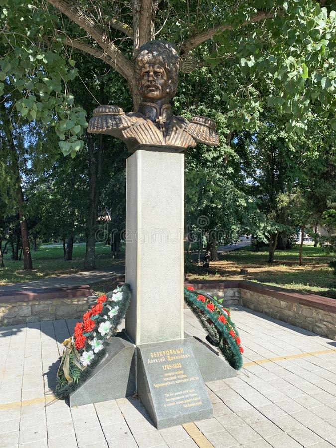 Anapa, Russia, July. 26, 2019. Monument to Bezkrovny Alexei Danilovich - major General, ataman of the black sea Cossack army stock image